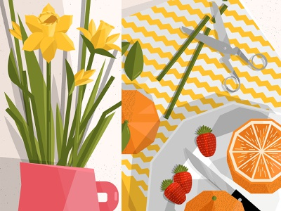 Still here still life 48 botanical illustration tulips flowers oranges food and drink food illustration foodie texture green design illustration vector
