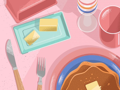 Still here still life 49 sweet breakfast butter pancakes pink foodie food and drink food illustration texture design illustration vector