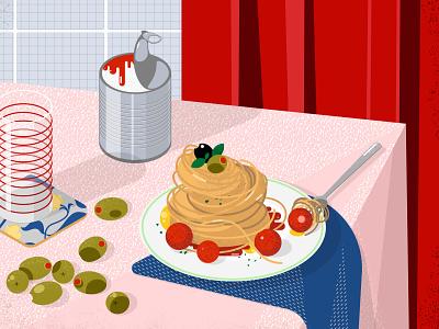 Still here still life 59 red dinner olives delicious foodie food spaghetti design illustration vector