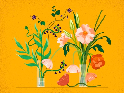Still here still life 60 yellow botanical bouquet texture green nature plants flowers design illustration vector