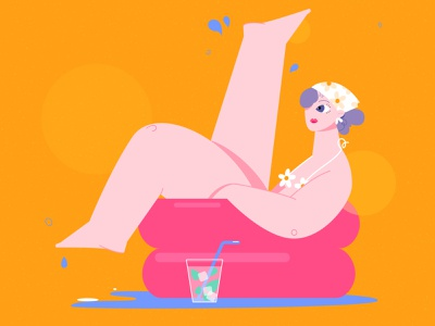 Summer Girl II hot heat water pool bright colorful summer woman girl design illustration vector
