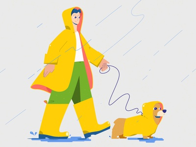 Dogwalker design illustration vector corgi animal cute funny good mood bad weather rainboots yellow raincoat rain dog