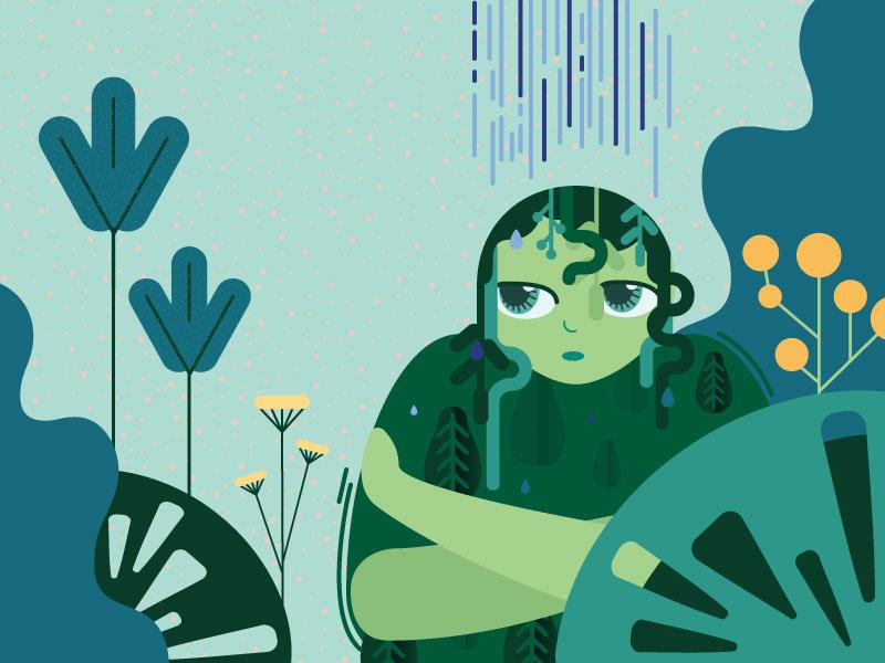 Earth spirit forest leaves nature kidlitart childrens illustration childrens book illustration vector