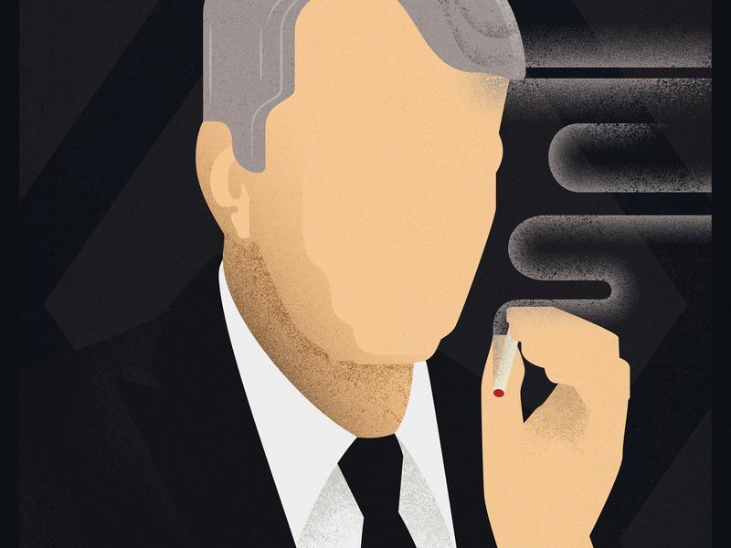 Cancer Man art deco man tv series poster grain texture the x-files smoke poster design illustration vector