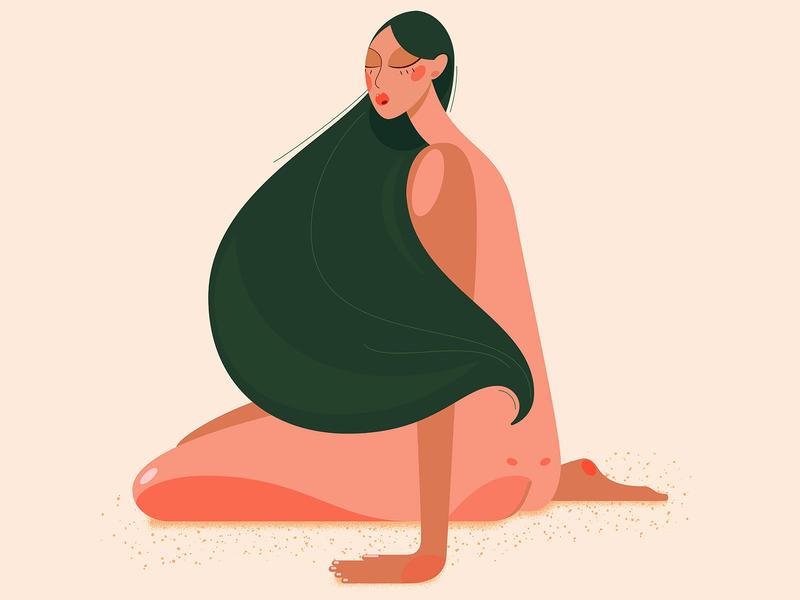 Green hair don't care green animals woman design girl illustration vector