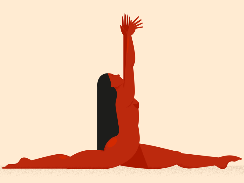 Stretching vector split gymnastics red girl