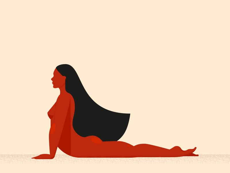 Stretching vector sport gymnastics red girl