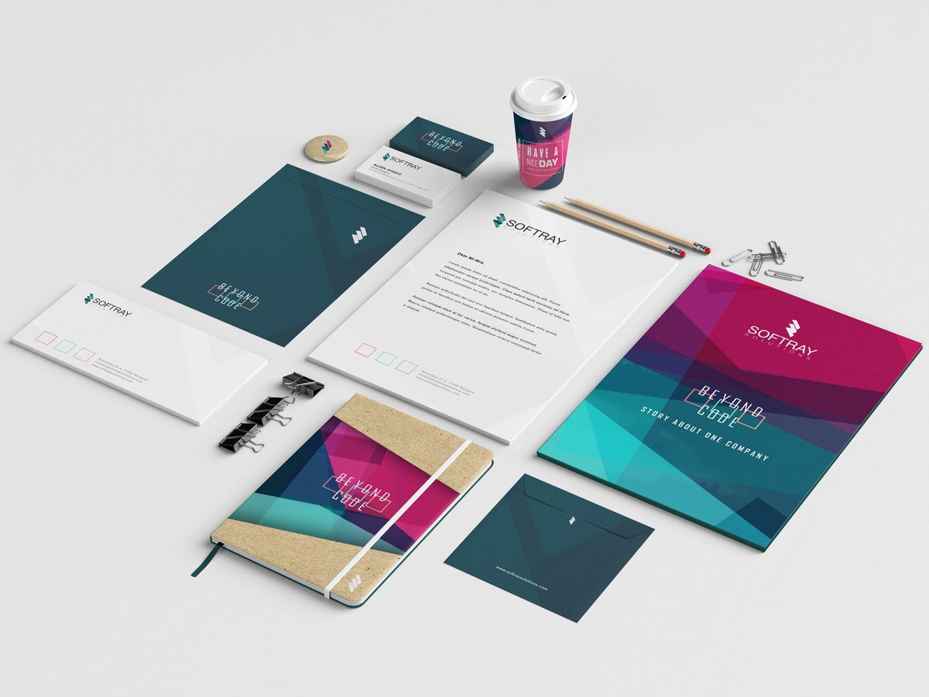 SoftraySolutions Company Branding indesign illustrator photoshop with love colorful coffee cup badge notebook envelope business card brochure letterhead print graphic  design branding