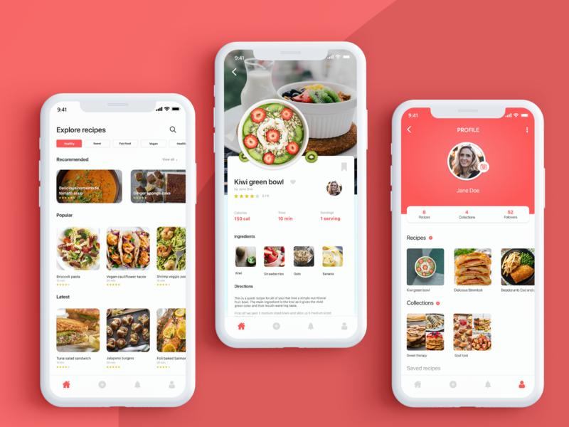 Recipe app design app ux ui