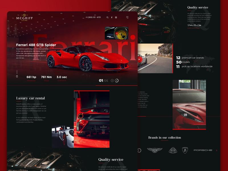 Exotic cars rental website graphic design ui design webpage rental cars webdesign website ux ui