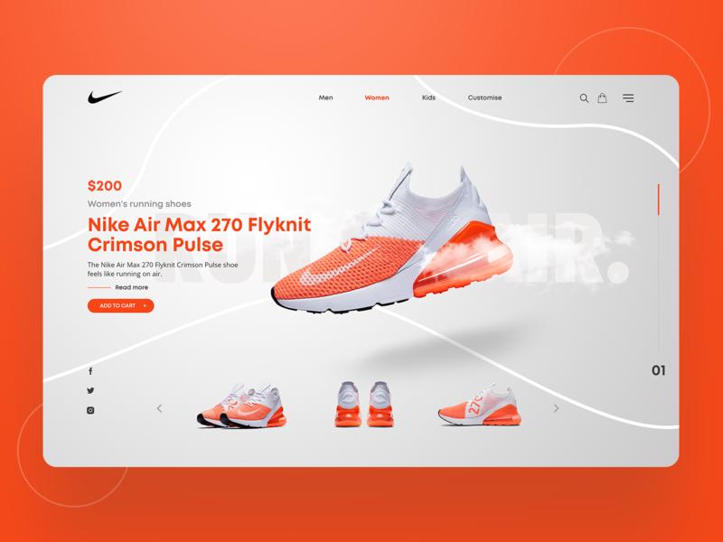 Nike landing page clean website design ux ui page landing shoes nike