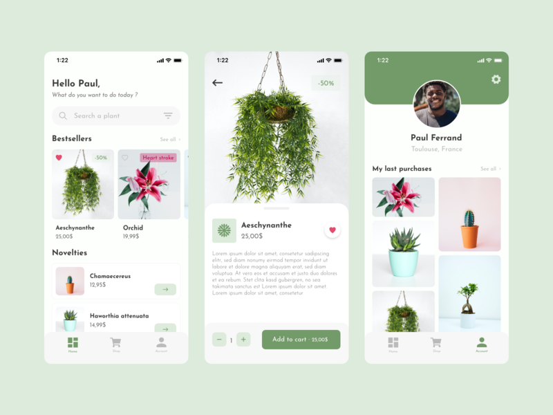 Flower Purchase App green shop profile flowers colors app ux dailyui 006 dailyui ui margot collavini