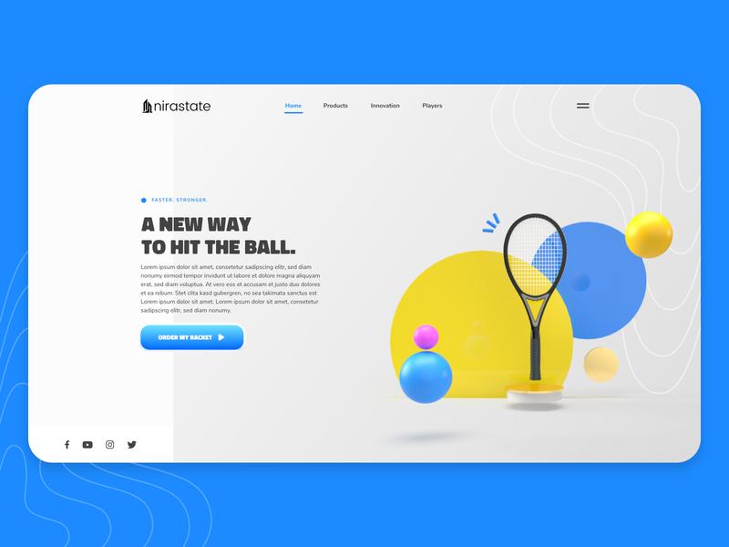 3D Tennis - Landing Page website design illustration webdesign ux ui colors 3d illustration landingpage racket tennis adobe dimension dimension margot collavini
