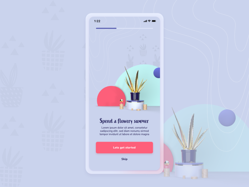 Flower App - Onboarding adobe dimension flower onboarding mobile design app ux ui margot collavini