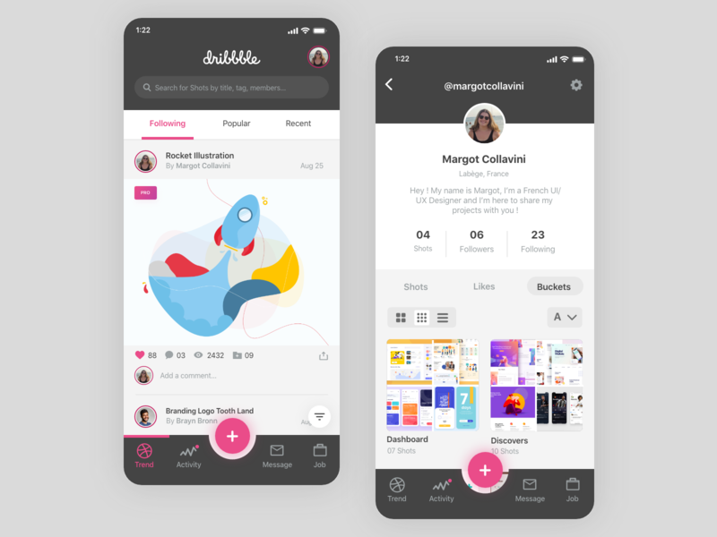 Dribbble - Redesign App account illustration homescreen profil feed post dribbble app design margot collavini application mobile app ux design ux ui colors