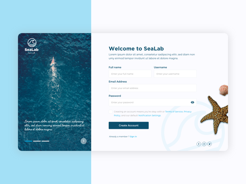 SeaLab - Sign Up form margot collavini sea webdesign ui sign up dailyui