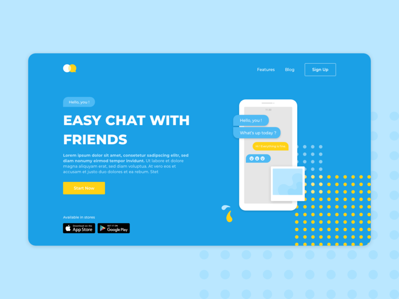 Chat App - Landing Page margot collavini dailyui 003 dailyui ux ui design website landing landing page chat app chat