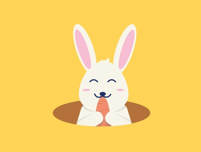 Eat Rabbit Flat Illustration