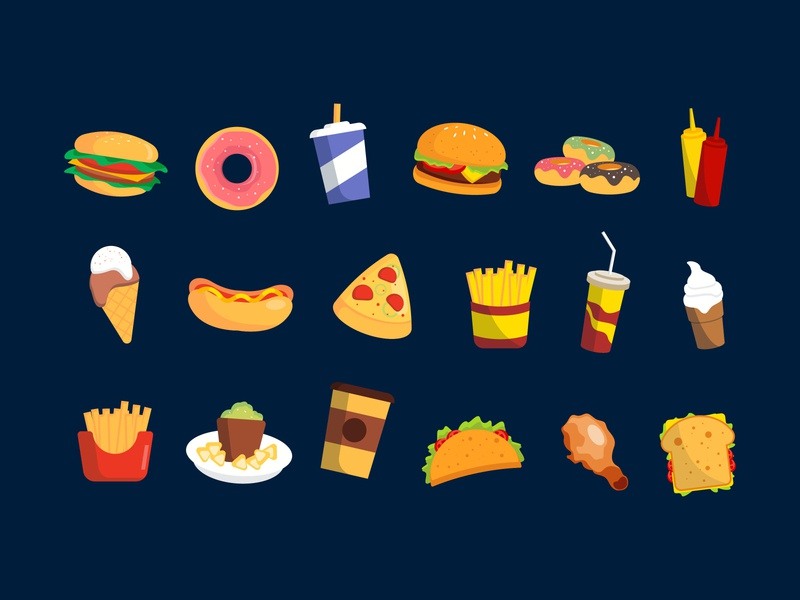 Junk Food pizza hotdog burger vector simple minimal dribbble icon flat clean design junkfood