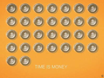 Time Is Money symbols icon metaphor illustration cover minimal graphic 品牌 插畫 time