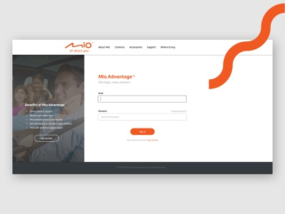 Mio Advantage Login Page login page website uiux visual design