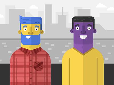 Just a couple o' dudes vector flat millenials dudes guys men character illustration