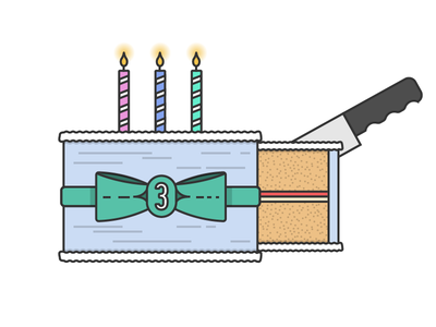 It's our 3rd birthday! birthday cake line vector flat illustration