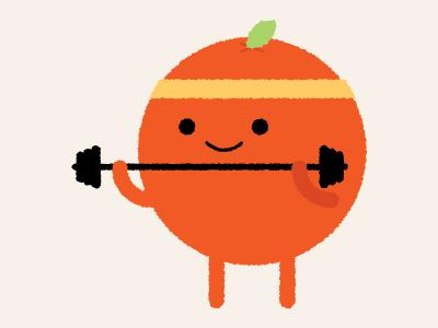 Pumping Iron orange design illustration