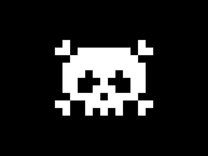 8-bit skull logo