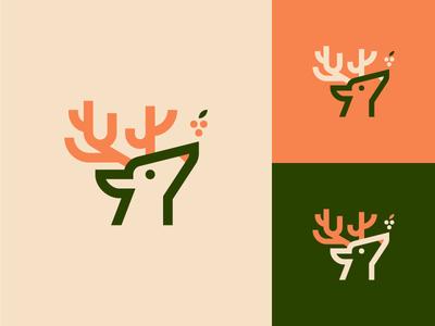 Deer & Berries animal nature berries design icon mark illustration stag deer