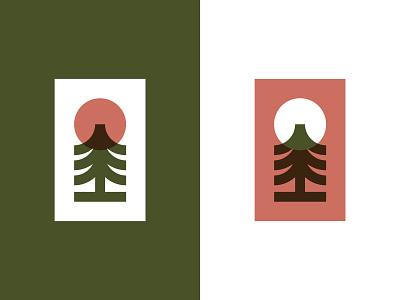 Woodland branding illustration design forest woodland sun tree