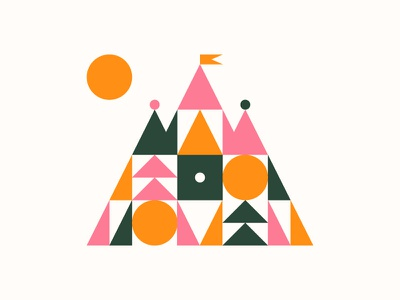 Castle illustration design sun geometry castle