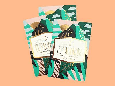 El Salvador Montecarlos Estate illustration design volcano el salvador print reserve starbucks