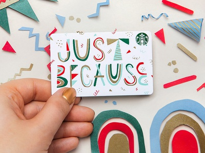 Just Because foil gift card holiday type lettering
