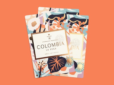 Colombia La Vega foil illustration flowers colombia coffee starbucks