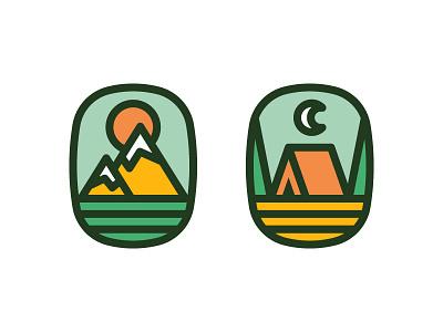 Outdoors emblem badge coffee camping sun mountain outdoors