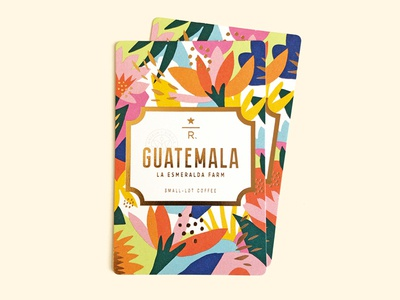 Guatemala La Esmeralda Farm flower foil print illustration design starbucks coffee