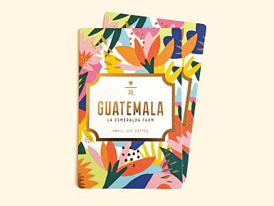 Guatemala La Esmeralda Farm flower foil print illustration design starbucks coffee