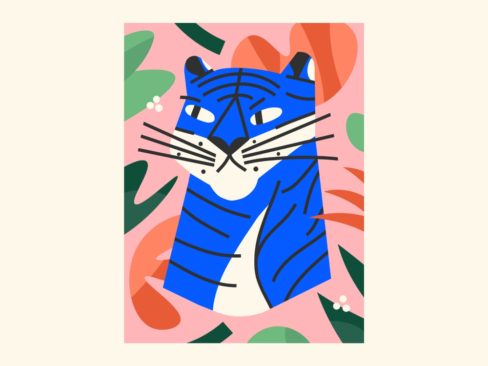Throw & Co. illustrator blanket pattern plants tiger design illustration