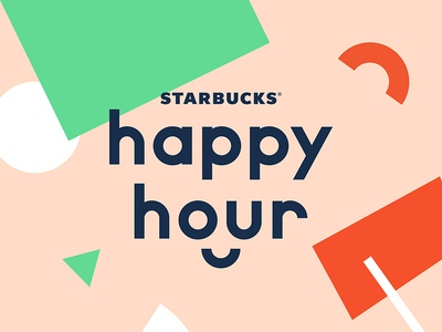 Starbucks Happy Hour design smile identity branding logo coffee starbucks