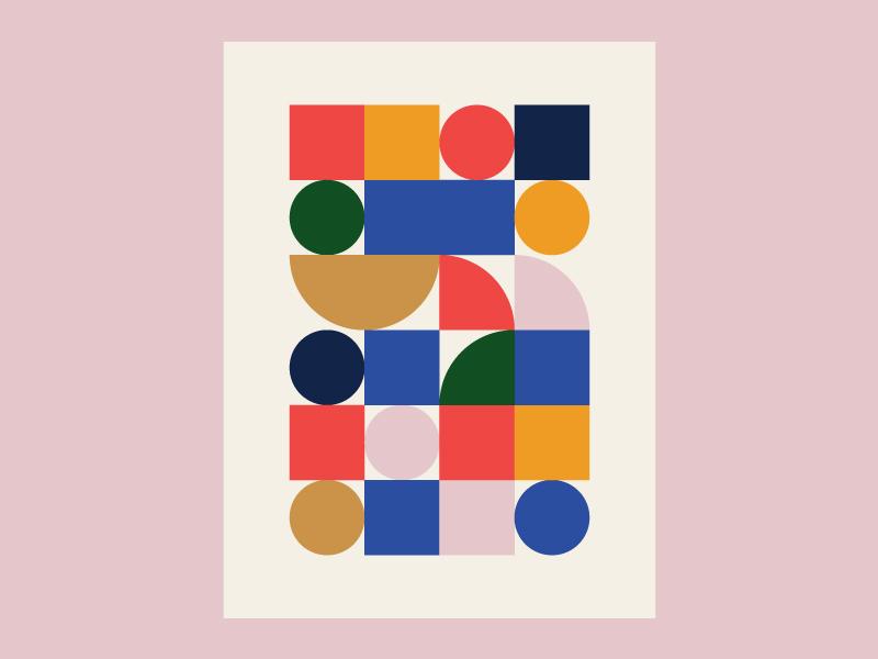 Factory pattern print color square circle geometric design