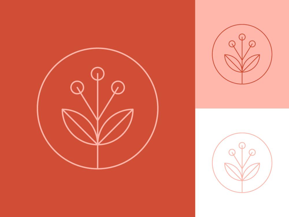 Floral mark stroke stamp icon logo branding floral flower