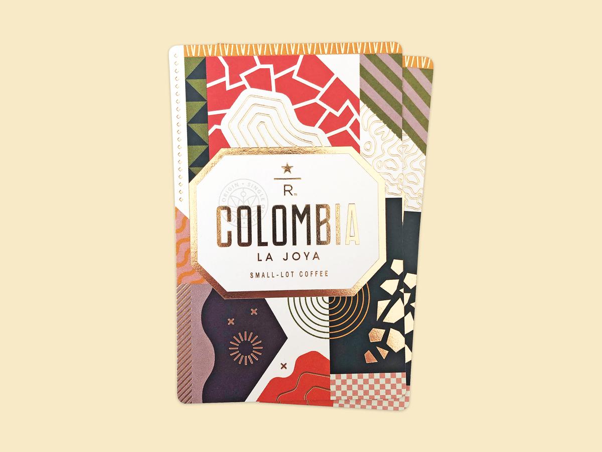 Colombia La Joya foil typography design coffee starbucks