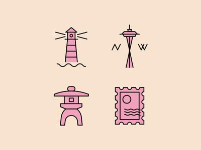Travel Icons design lighthouse stamp space needle travel icon
