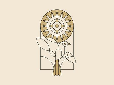 We saw God in sunlight vector stroke design bird sun illustration