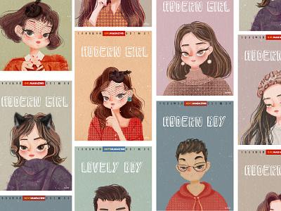 Illustration collection cut girl cartoon character art illustartion