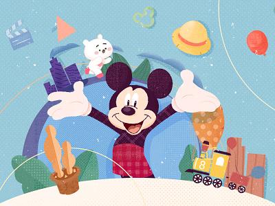 Mickey Mouse kid cartoon illustartion
