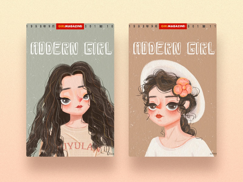 Vintage illustrations girl design cartoon ui illustartion