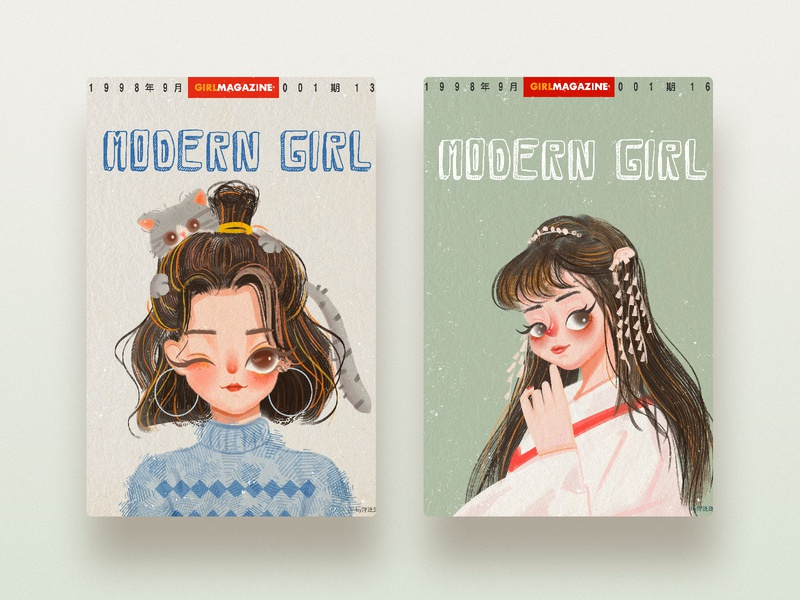 Vintage illustrations cut girl design illustartion
