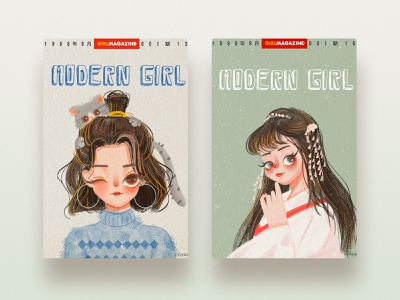 Vintage illustrations cut girl design illustartion